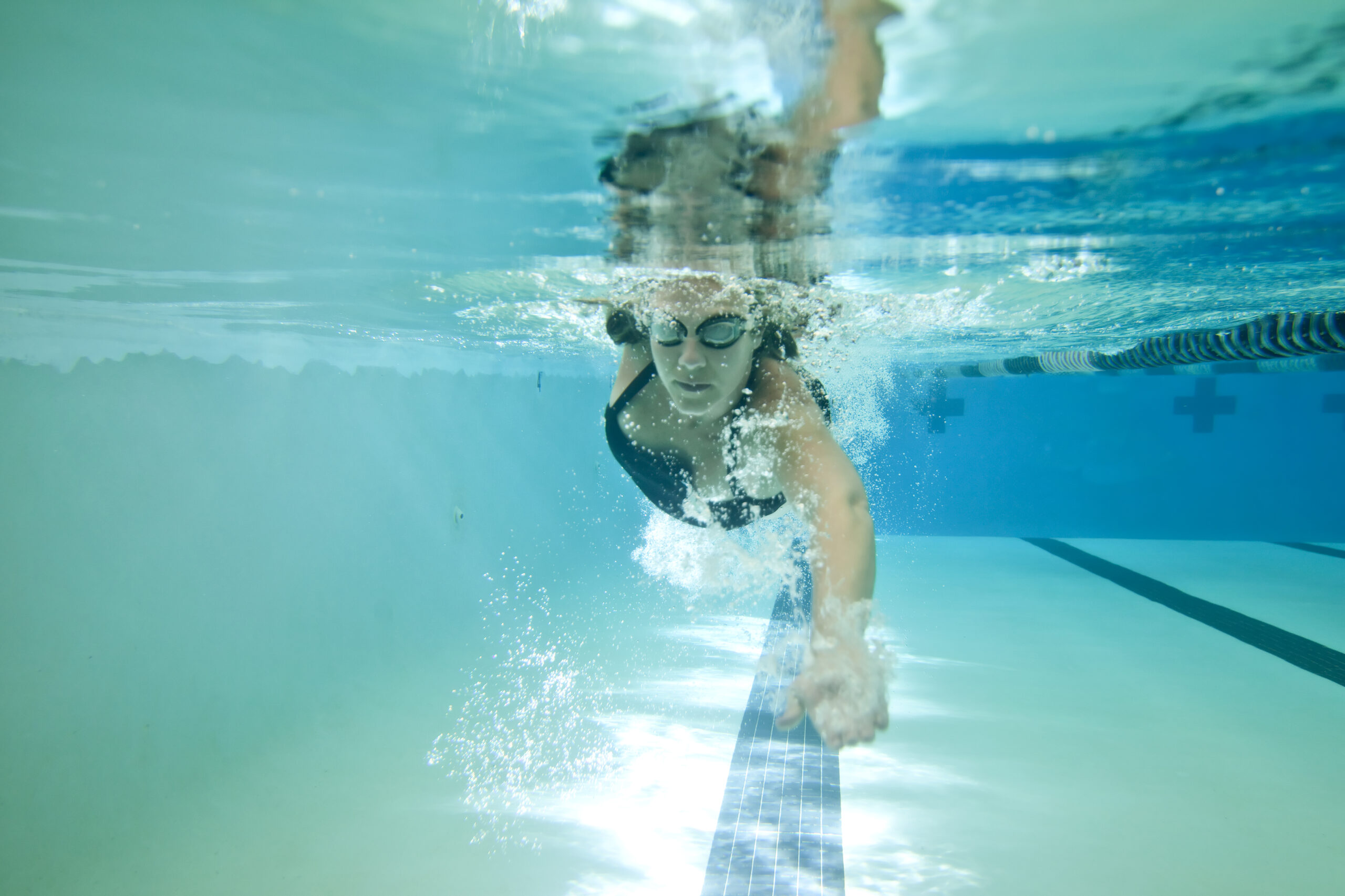 underwater shot of female competition swimmer